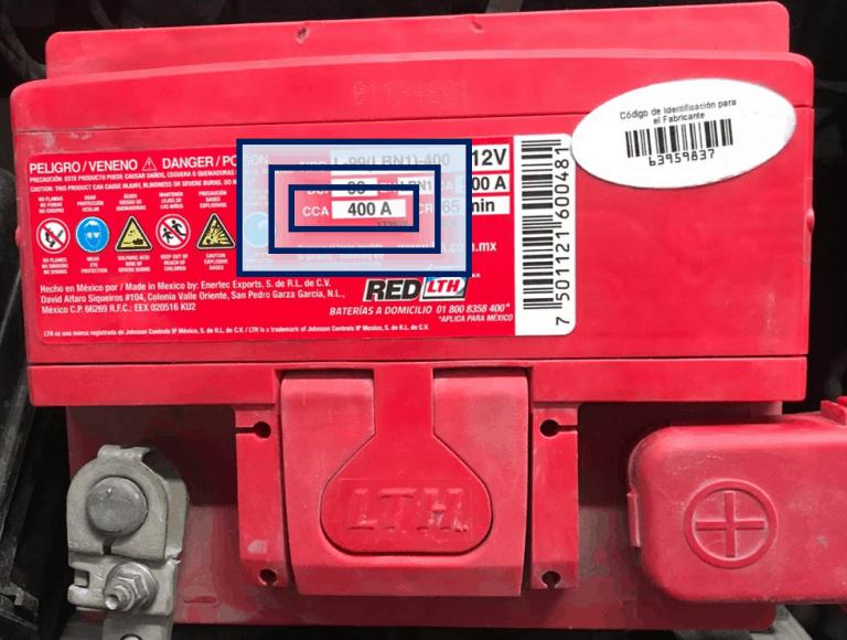 Batería LTH L-99 con CCA sombreado