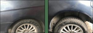 Diferencia de altura de un lado del eje comparado con el otro lado por un amortiguador dañado