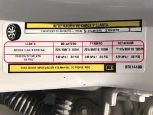 Etiqueta de presión de las llantas